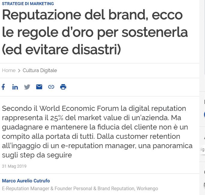 Workengo le regole per la reputazione del brand su Agenda Digitale