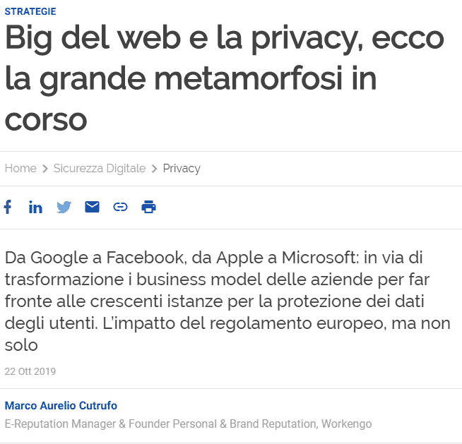 workengo big del web privacy e reputazione personale su Agenda Digitale