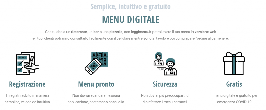menù digitale per i ristoranti covid